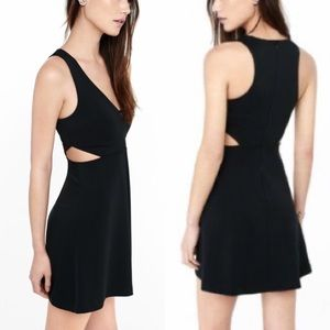 Express Black Fit & Flare Cut Out Mini Dress Sz 8